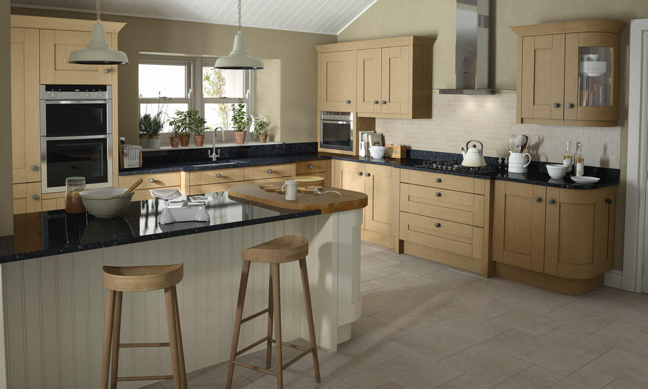 Milbourne oak bespoke fitted kitchens wigan kitchen for Oak fitted kitchen
