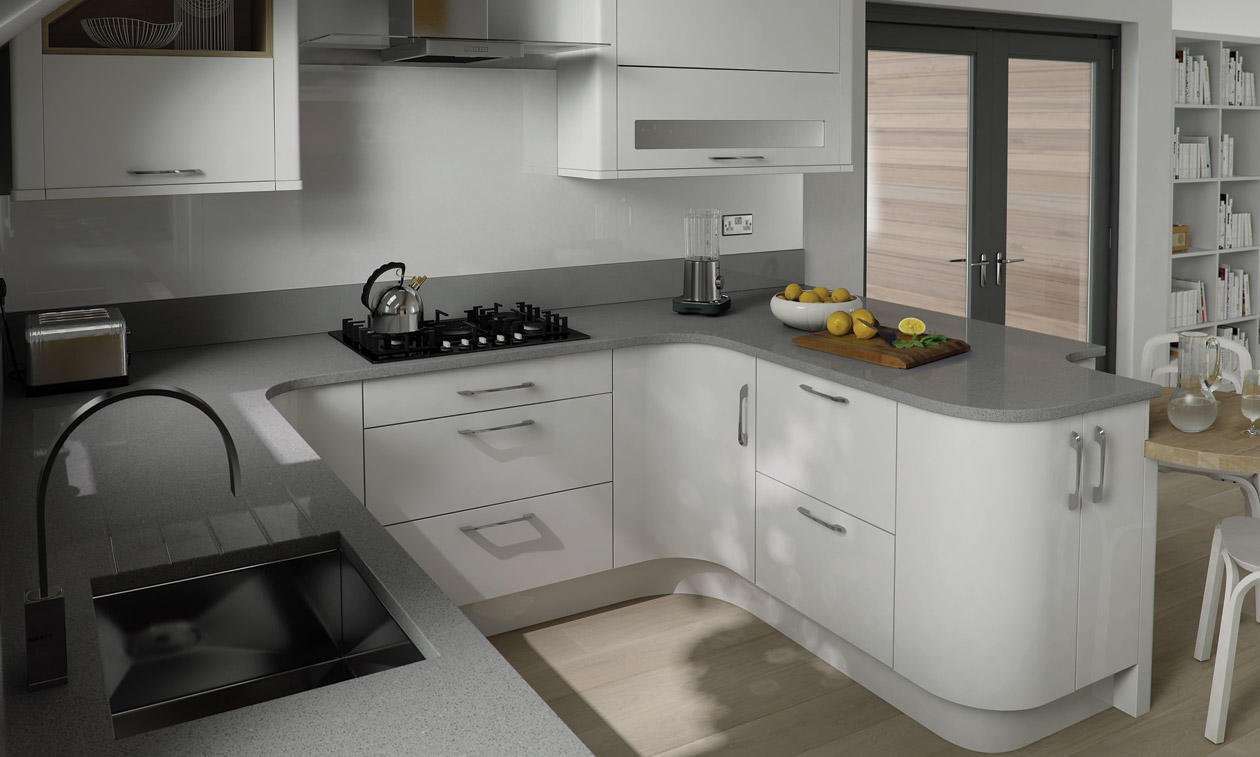 Porter white bespoke fitted kitchens wigan kitchen for Fitted kitchen designs