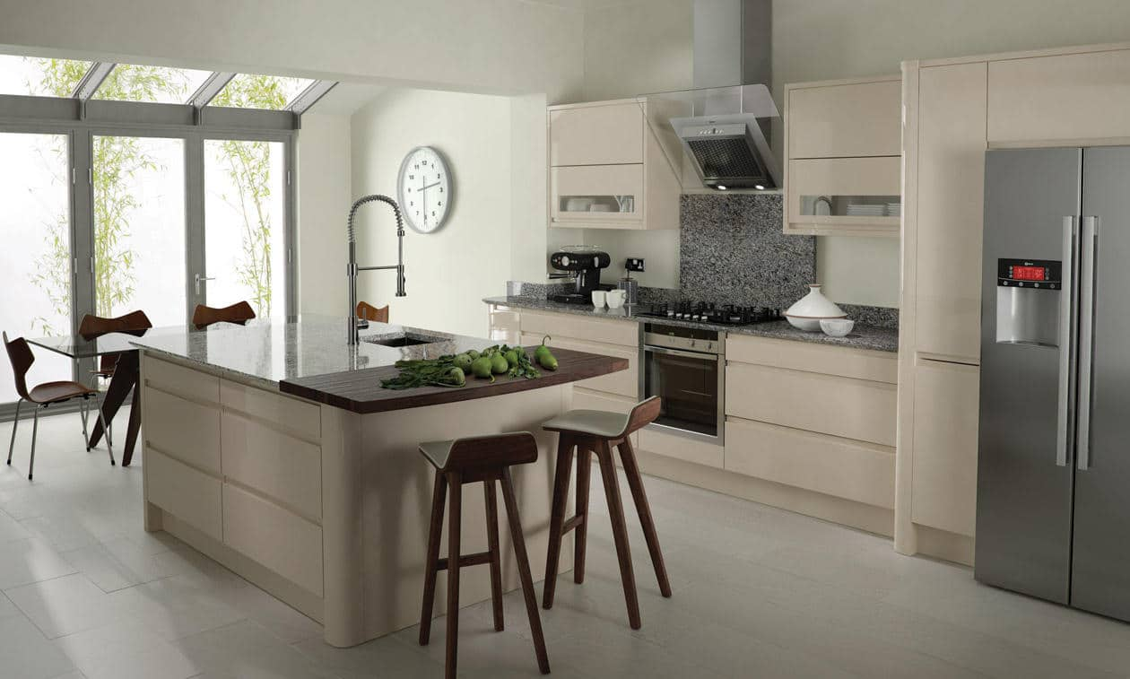 Remo Beige Handleless Bespoke Fitted Kitchens Wigan
