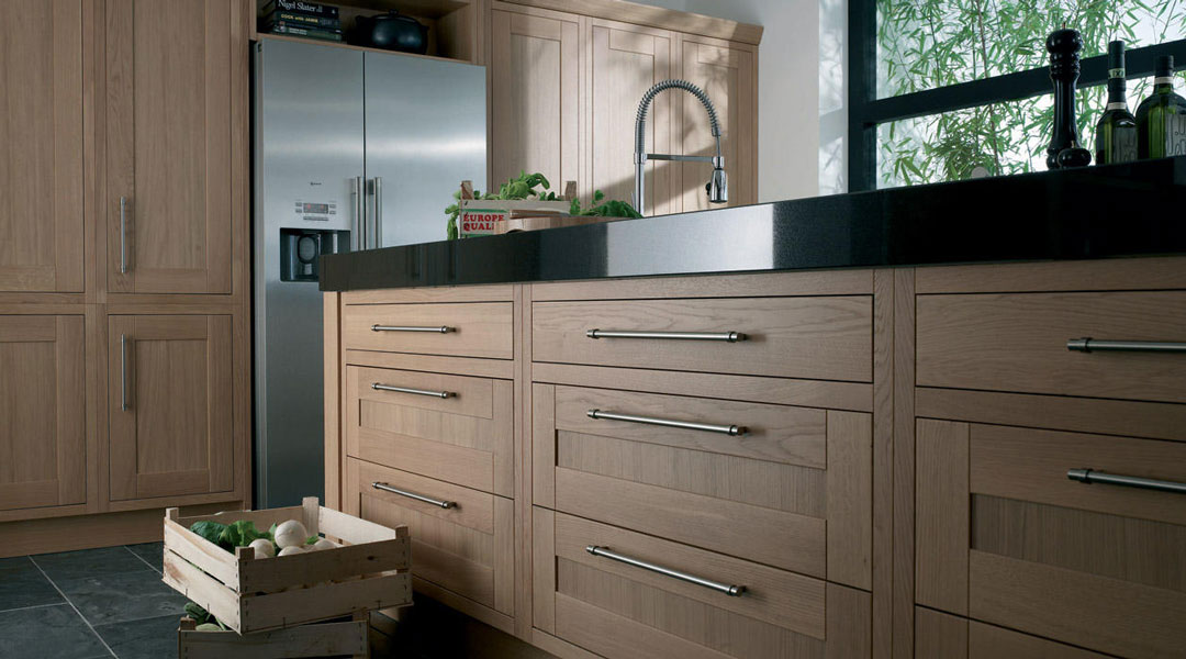 Second Nature Milton Oak Inframe Bespoke Fitted Kitchens Wigan